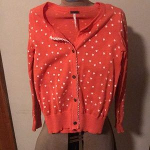 Girls Coral Button Down Sweater Size 7/8